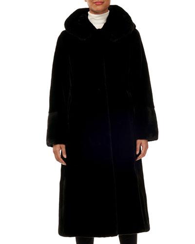 Reversible Mink-Fur Taffeta Mid-Length Coat