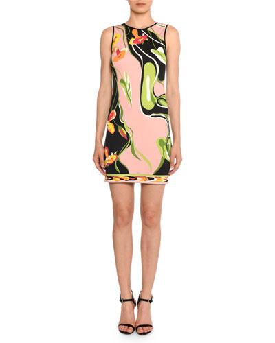 Water-Lily Print Sleeveless Sheath Dress