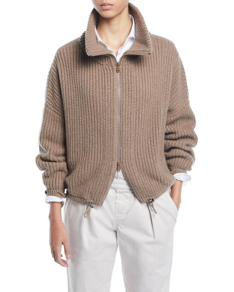 Brunello Cucinelli English-Ribbed Cashmere Zip-Front Cardigan