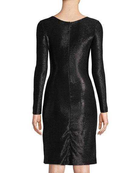 Emporio Armani Long-Sleeve Metallic Mesh Wrap Dress