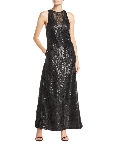 Emporio Armani Sleeveless Sequined-Mesh Illusion Gown