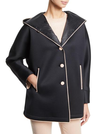 Emporio Armani Hooded Neoprene Caban Coat