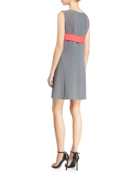 Emporio Armani Sleeveless Contrast Bra-Back Cady Shift Dress