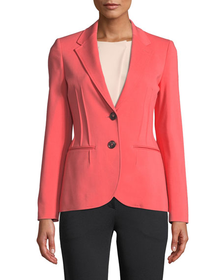 Emporio Armani Alba Stretch-Cotton Seamed-Front Blazer