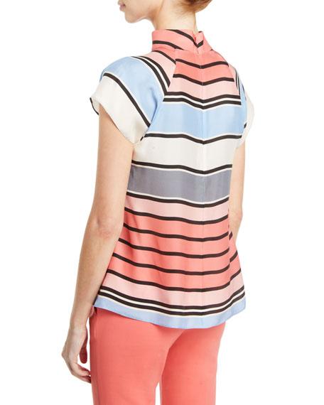 Emporio Armani Multicolor Awning-Stripe Matte Satin Mock-Neck Blouse