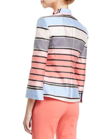 Emporio Armani One-Button 3/4-Sleeve Multicolor Awning-Stripe Taffeta Jacket