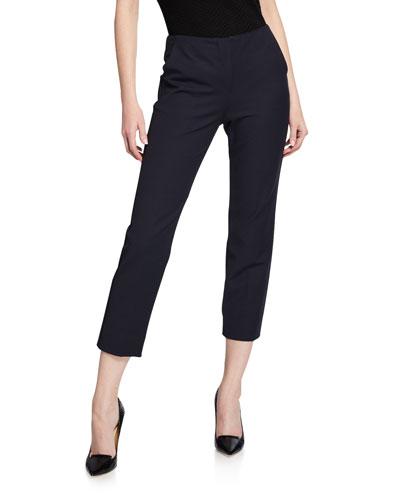 Straight-Leg Cotton-Stretch Pants
