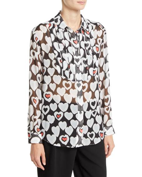 Emporio Armani Long-Sleeve Button-Front Heart-Print Chiffon Blouse