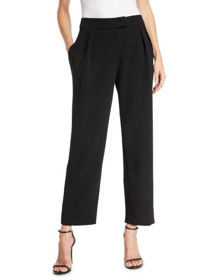 Emporio Armani Pebble Crepe Pleated Straight-Leg Fashion Pants