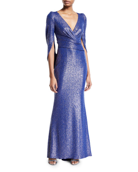 Talbot Runhof V-Neck Cape-Sleeve Embellished Trumpet Evening Gown