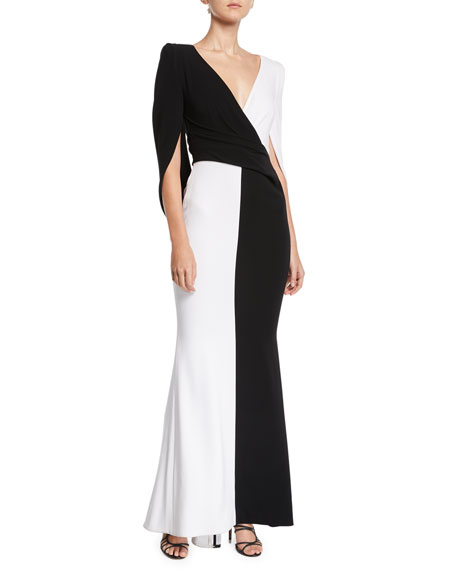 TALBOT RUNHOF V-Neck Cape-Back Trumpet Colorblocked Evening Gown in White