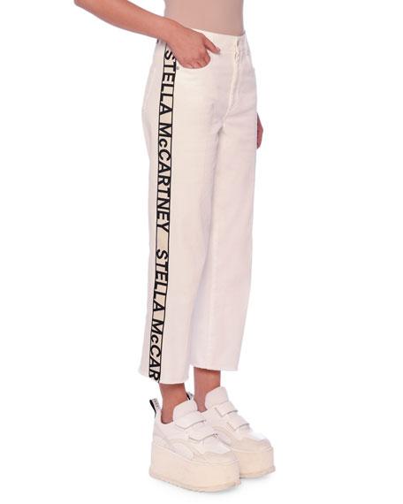 Stella McCartney Logo Side-Tape Straight-Leg Boyfriend Ankle Jeans