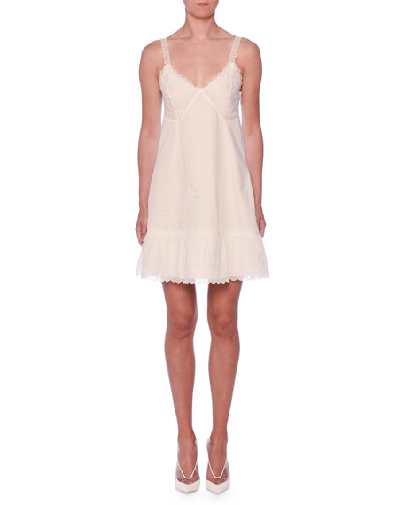 Stella McCartney V-Neck Embroidered Anglais Cami Slip Dress
