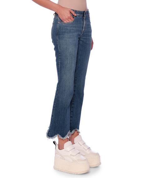 Frayed Scallop-Hem Straight-Leg Jeans