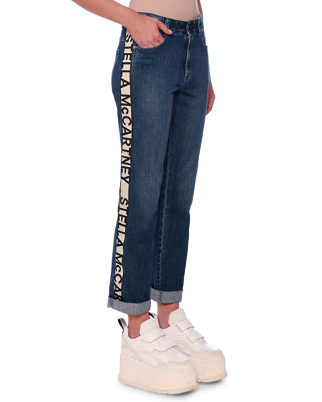 Stella McCartney Logo-Stripe Straight-Leg Jeans