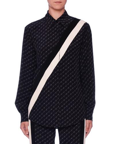 Monogram Button-Front Long-Sleeve Silk Boyfriend Shirt