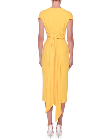 Stella McCartney Scarf-Back Cap-Sleeve Midi Sheath Ponte Dress