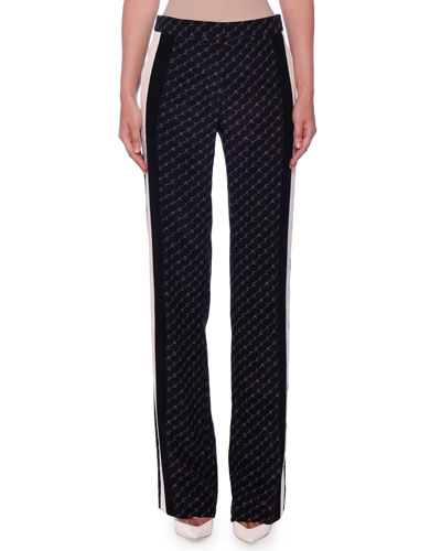 High-Waist Stella Monogram Racer-Stripe Straight-Leg Silk Pants