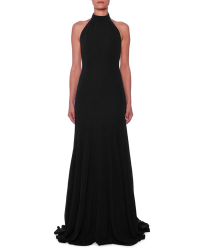 Halter Open-Back A-Line Stretch-Cady Evening Gown