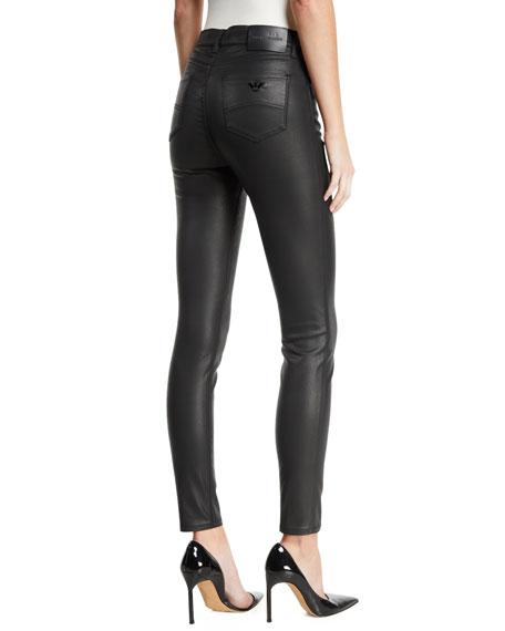 High-Waist Skinny Waxed Denim Jeans
