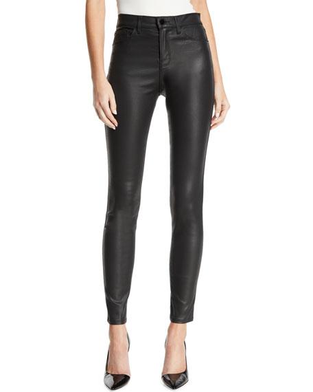 Emporio Armani High-Waist Skinny Waxed Denim Jeans