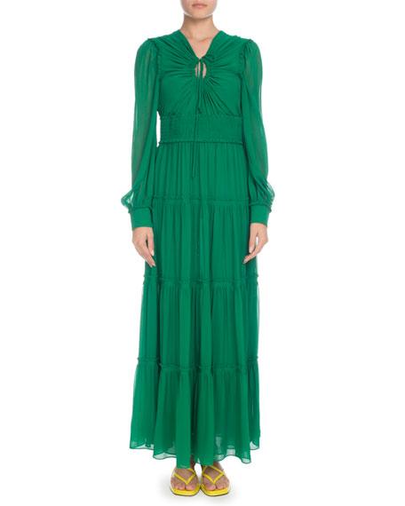 Proenza Schouler Keyhole-Front Long-Sleeve Silk Chiffon Long Peasant Dress