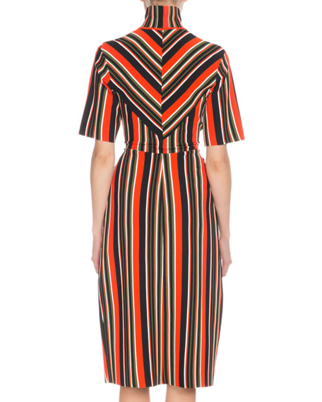 Proenza Schouler Drawstring Cutout-Waist Short-Sleeve Stripe-Knit Midi Dress