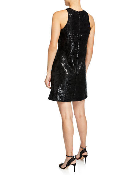 Sleeveless Micro-Paillettes Shift Dress w/ Pockets