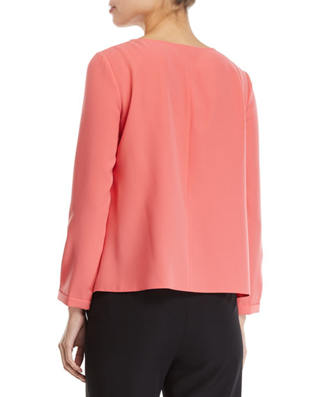 Long-Sleeve Pleated-Front Tech Cady Blouse