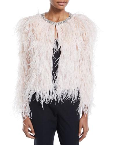 Ostrich Feather Jacket with Swarovski Crystals
