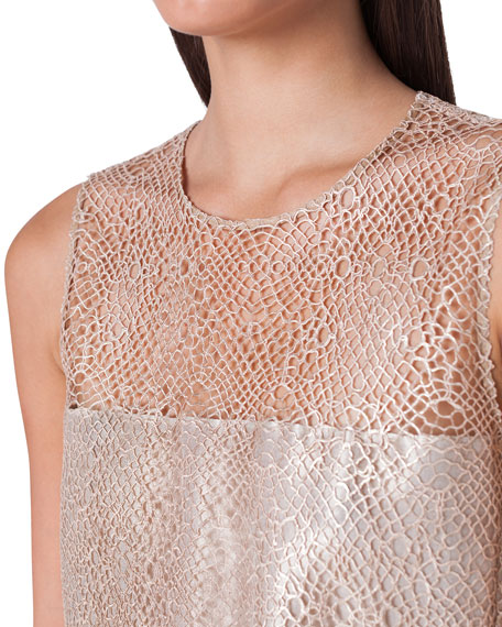 Akris Sleeveless Net-Lace Illusion Blouse