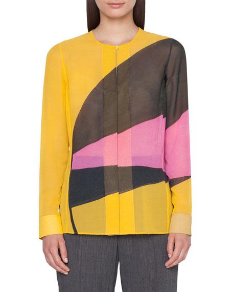 Akris Sunrise-Panel Georgette Button-Front Blouse