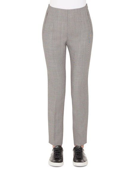 Akris Conny Fil-a-Fil Wool Slim Ankle Pants