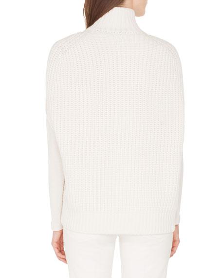 Akris Gilet-Knit Cashmere Mock-Neck Zip-Front Cardigan