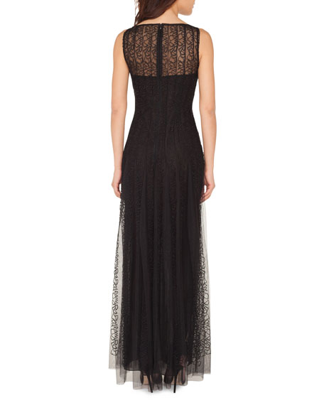 Akris Embroidered-Tulle Illusion Gown