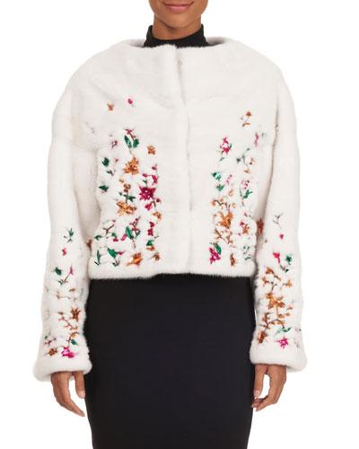 Floral Embroidered Mink-Fur Bolero Jacket