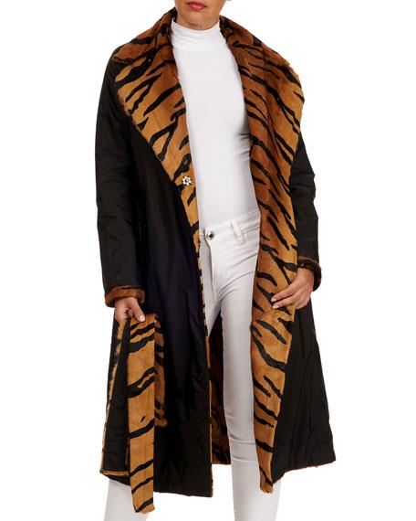 Simonetta Ravizza Reversible Tiger-Print Lamb Short Coat