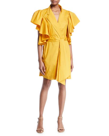 Johanna Ortiz Tulip Evolution Ruffled-Shoulder Belted Stretch Poplin Wrap Dress