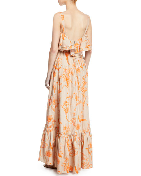 Image 2 of 2: Tropical Wave Ruffled Square-Neck Belted Floral-Print Poplin Maxi Dress