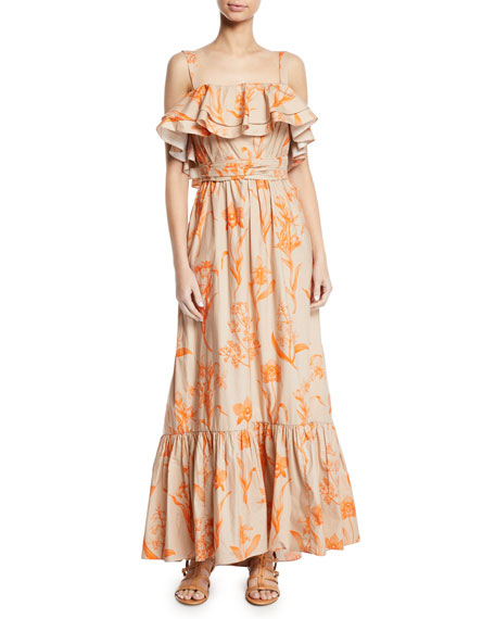 Image 1 of 2: Tropical Wave Ruffled Square-Neck Belted Floral-Print Poplin Maxi Dress
