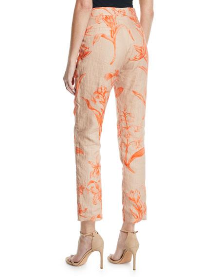 Johanna Ortiz Caminantes Del Carnaval High-Rise Floral-Print Linen Ankle Pants