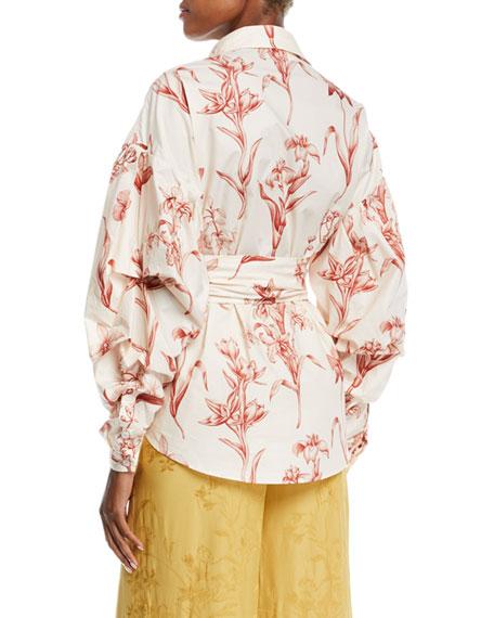 Johanna Ortiz Rushcutters Bay Pouf Long-Sleeve Lily-Print Cotton Poplin Shirt