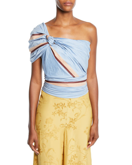 Johanna Ortiz Bahanias One-Shoulder Maldives-Stripe Print Fitted Ruched Top