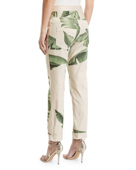 Johanna Ortiz Mid-Rise Palm-Leaf Print Capri Pants