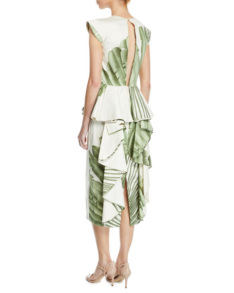 Johanna Ortiz Natural Listic Plunging Cap-Sleeve Palm-Print Stretch Cotton-Sateen Midi Dress