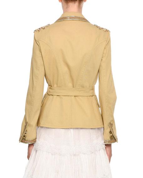 Ermanno Scervino Embellished Belted Safari Jacket