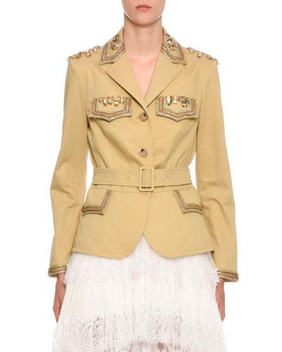 Embellished Belted Safari Jacket