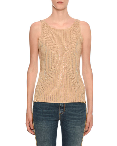 Ermanno Scervino Crystal-Embellished Sleeveless Cotton Sweater
