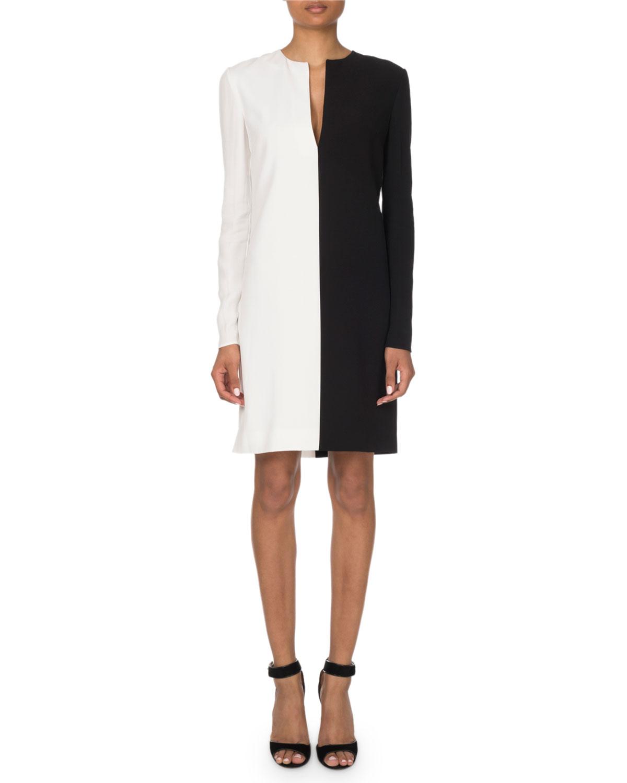 e464693aab6b Givenchy Two-Tone V-Neck Shift Dress   Neiman Marcus
