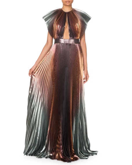 Givenchy Metallic-Ombre Plisse Cutout Gown